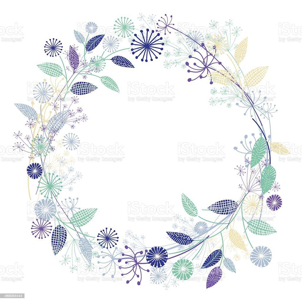 Wildflowers Garden Wreath vector art illustration