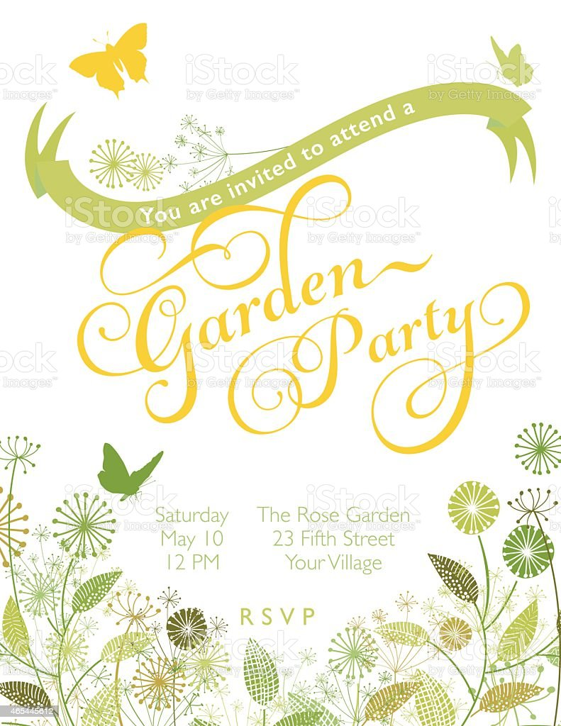 Wildflowers Wreath with Banner Garden Party Invitation Template vector art illustration