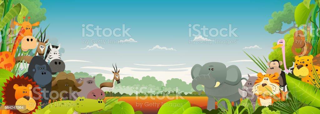 Wildlife African Animals Background vector art illustration