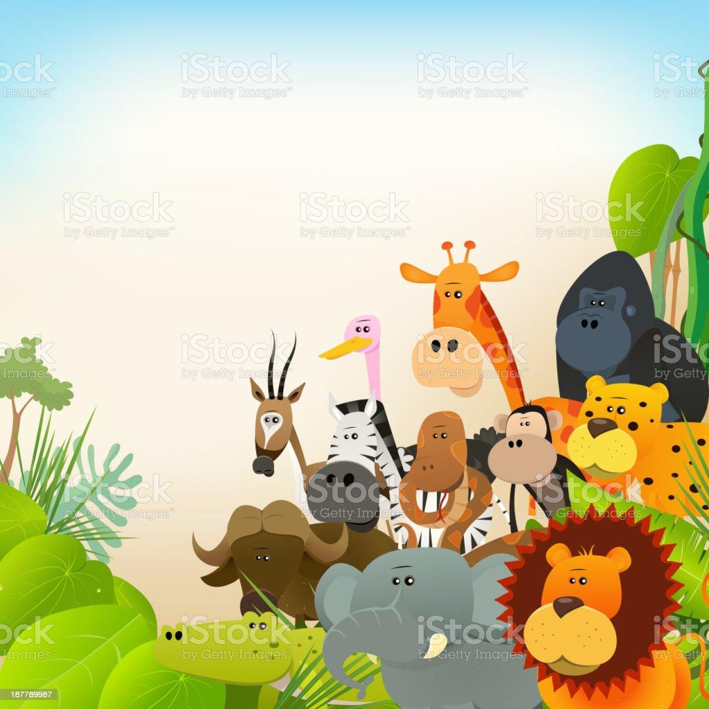 Wildlife Animals Background vector art illustration