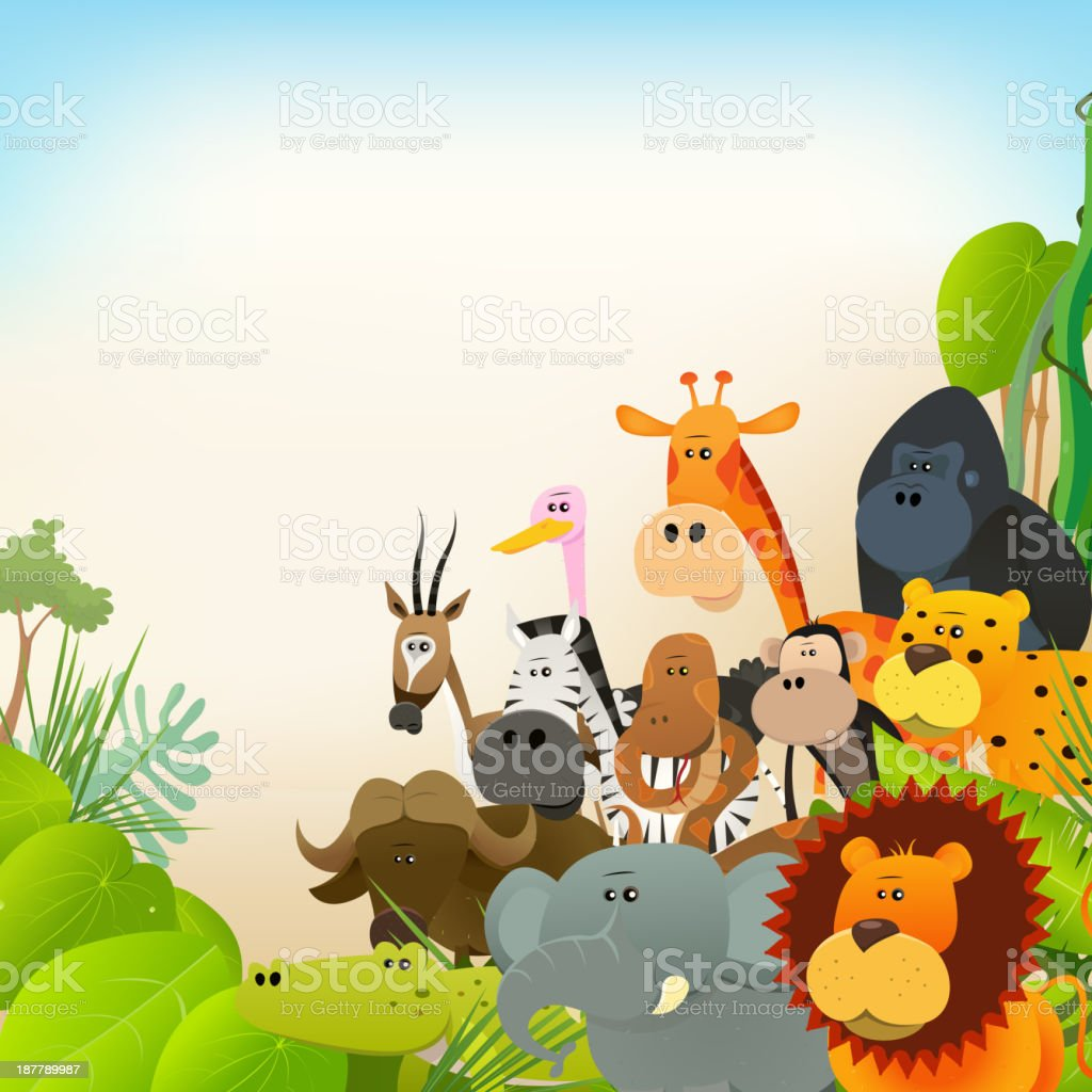 Wildlife Animals Background vector art illustration