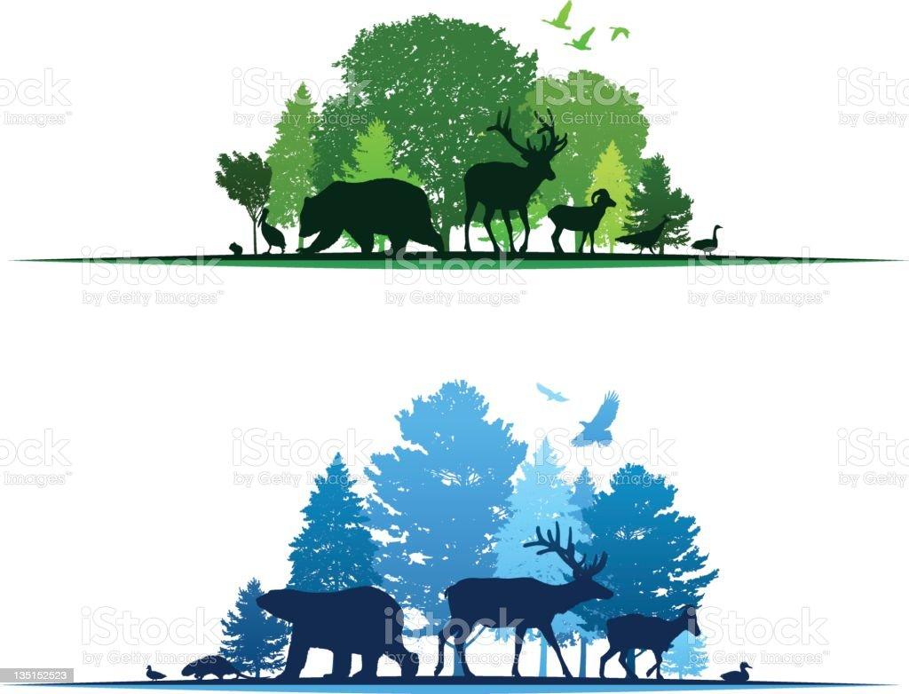 Wildlife Border Elements vector art illustration