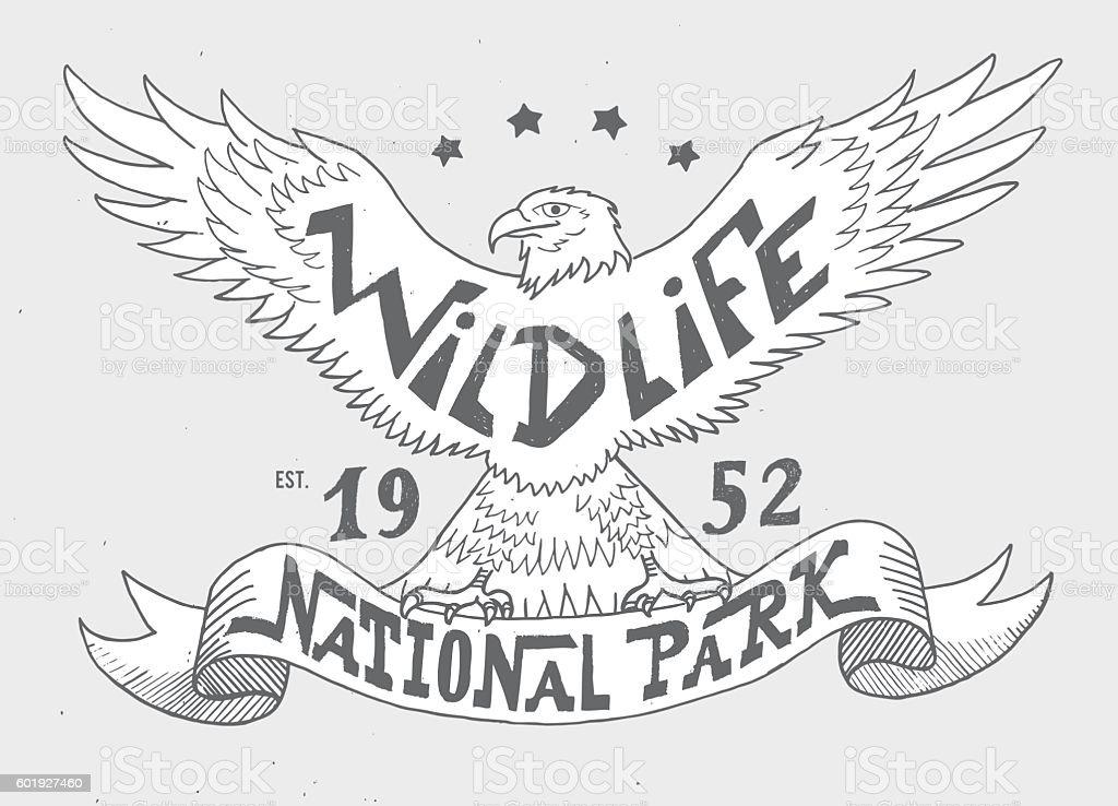 Wildlife. National park. Vintage illustration for t-shirt, apparel, print vector art illustration
