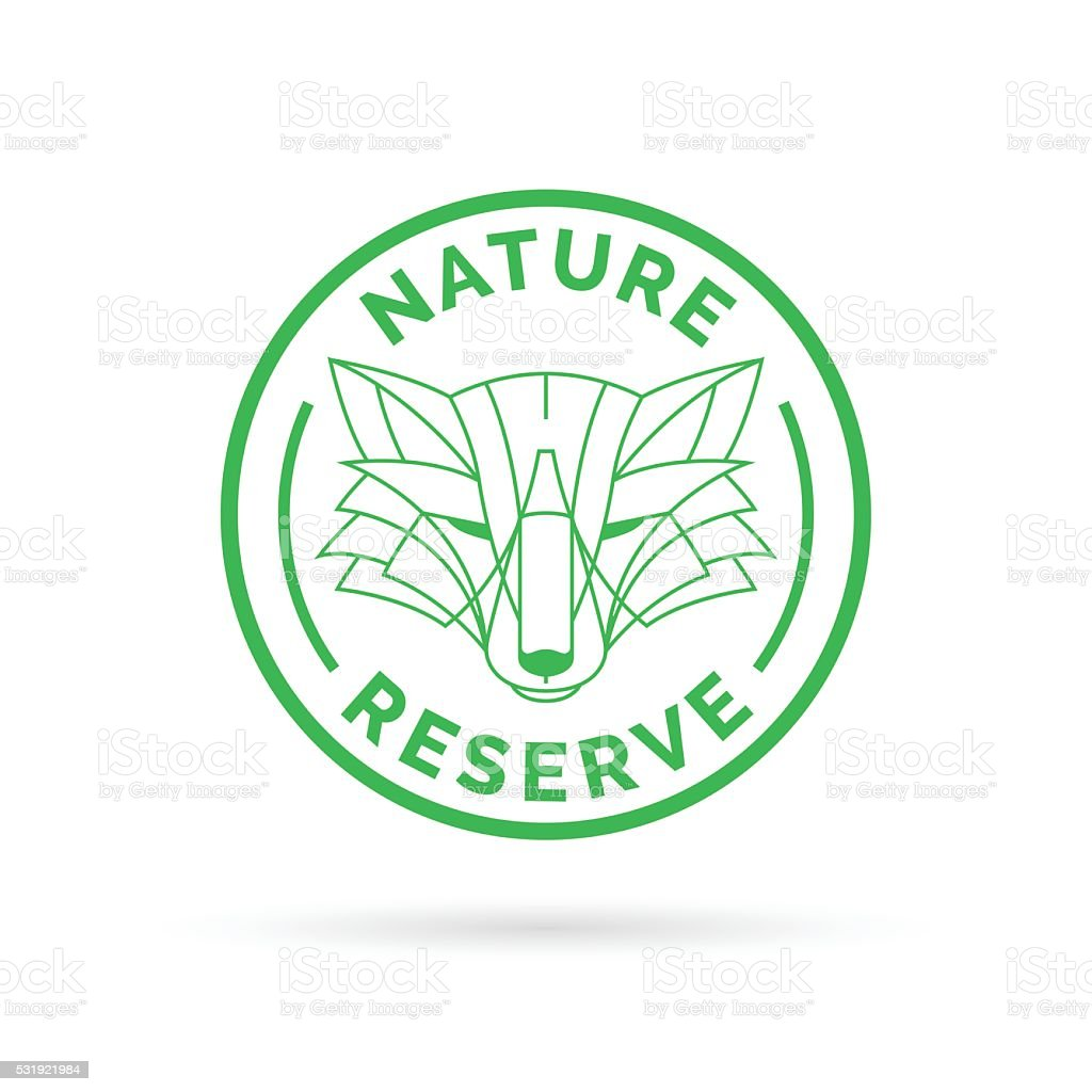 Wildlife park nature reserve icon emblem with wild fox symbol vector art illustration
