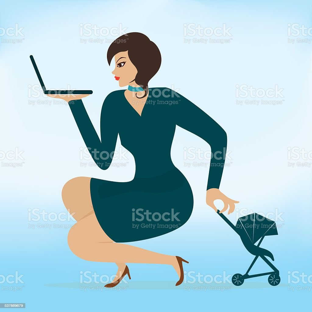 I will have a child and a career both vector art illustration