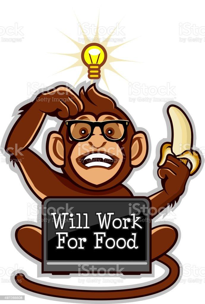 Will work for food vector art illustration