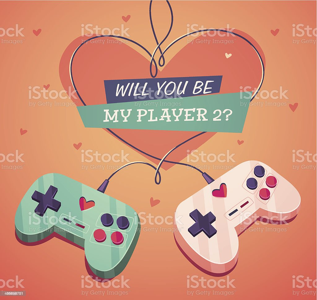 Will you be my player two? Valentine's Day Card vector art illustration