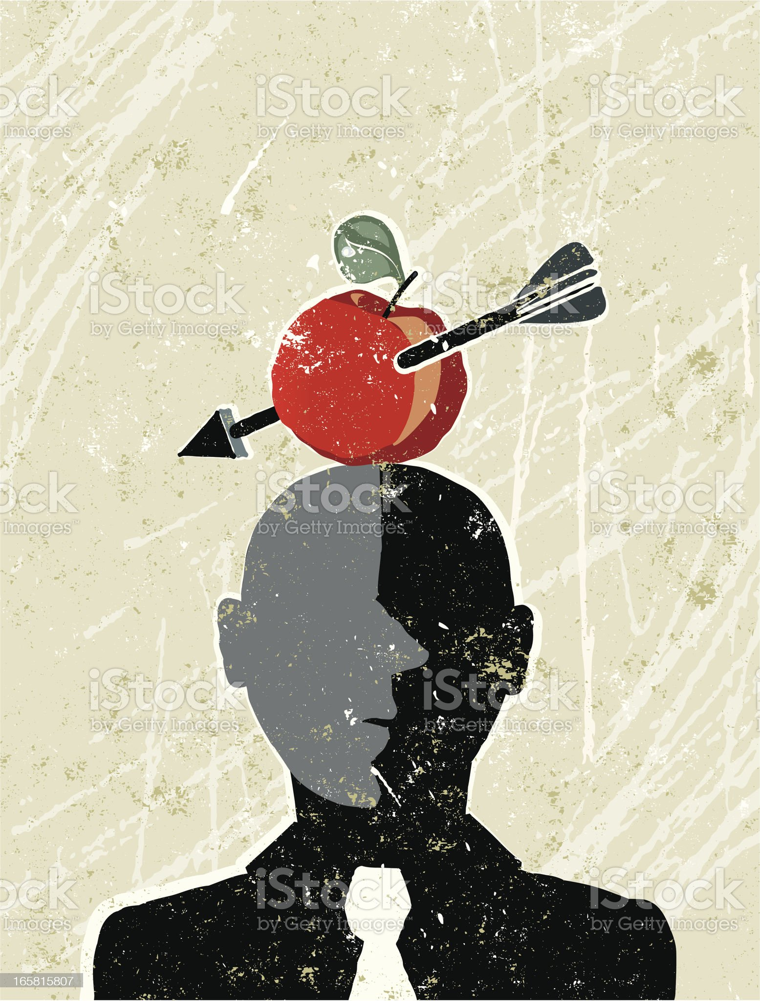 William Tell Businessman with an Apple and Arrow royalty-free stock vector art