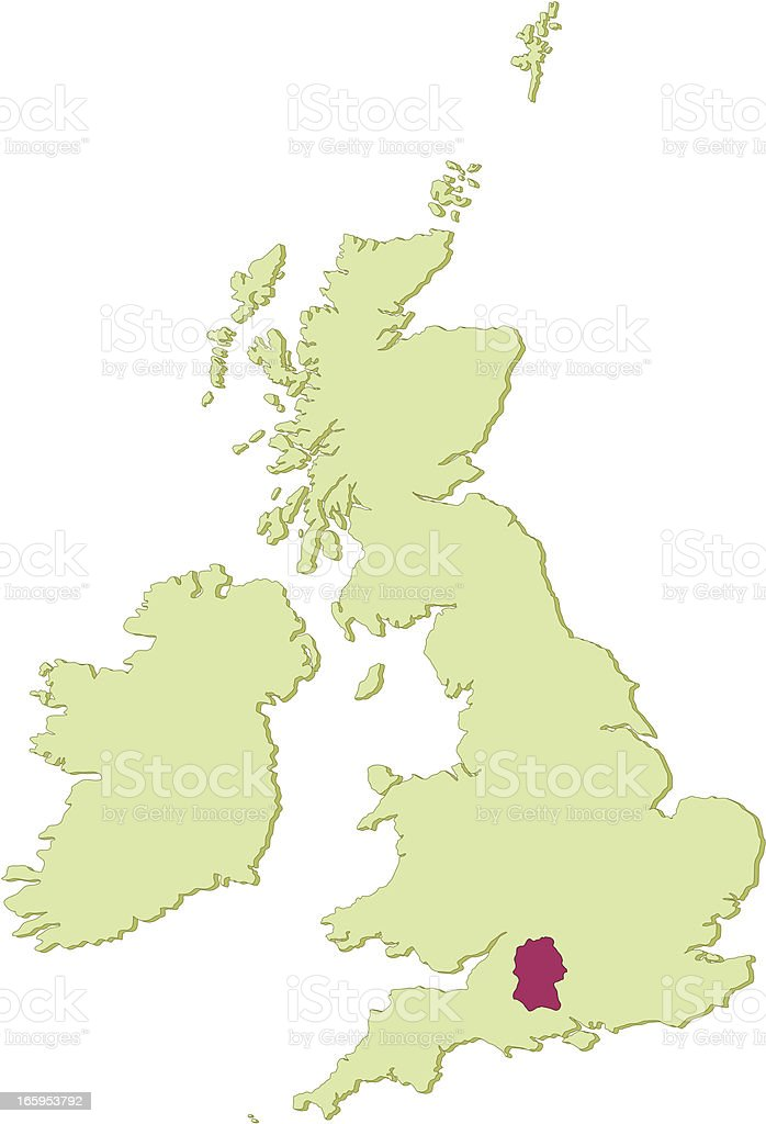 UK Wiltshire map vector art illustration