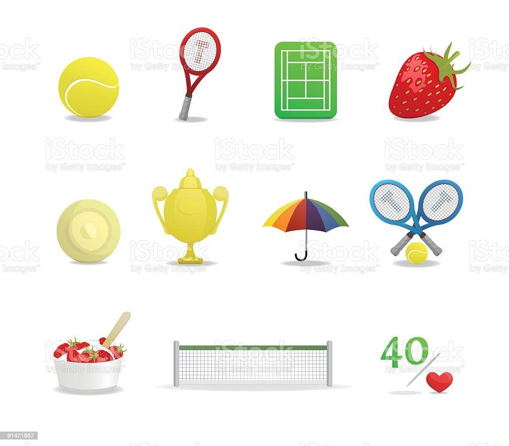 Wimbledon Tennis Icons vector art illustration