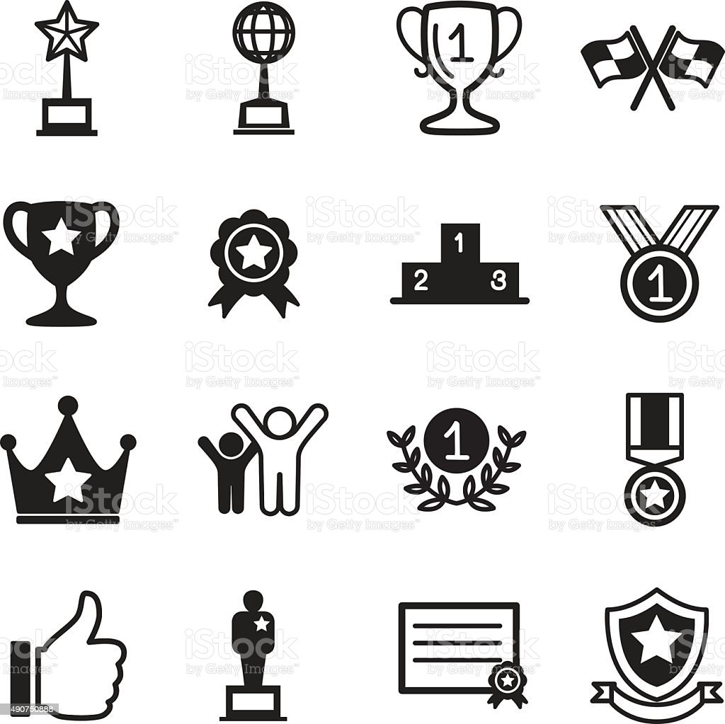 Win and success icons vector art illustration