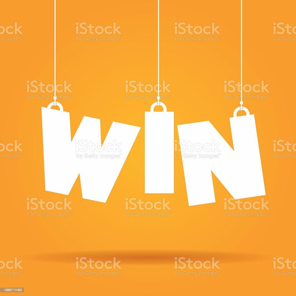 Win hanging label vector art illustration