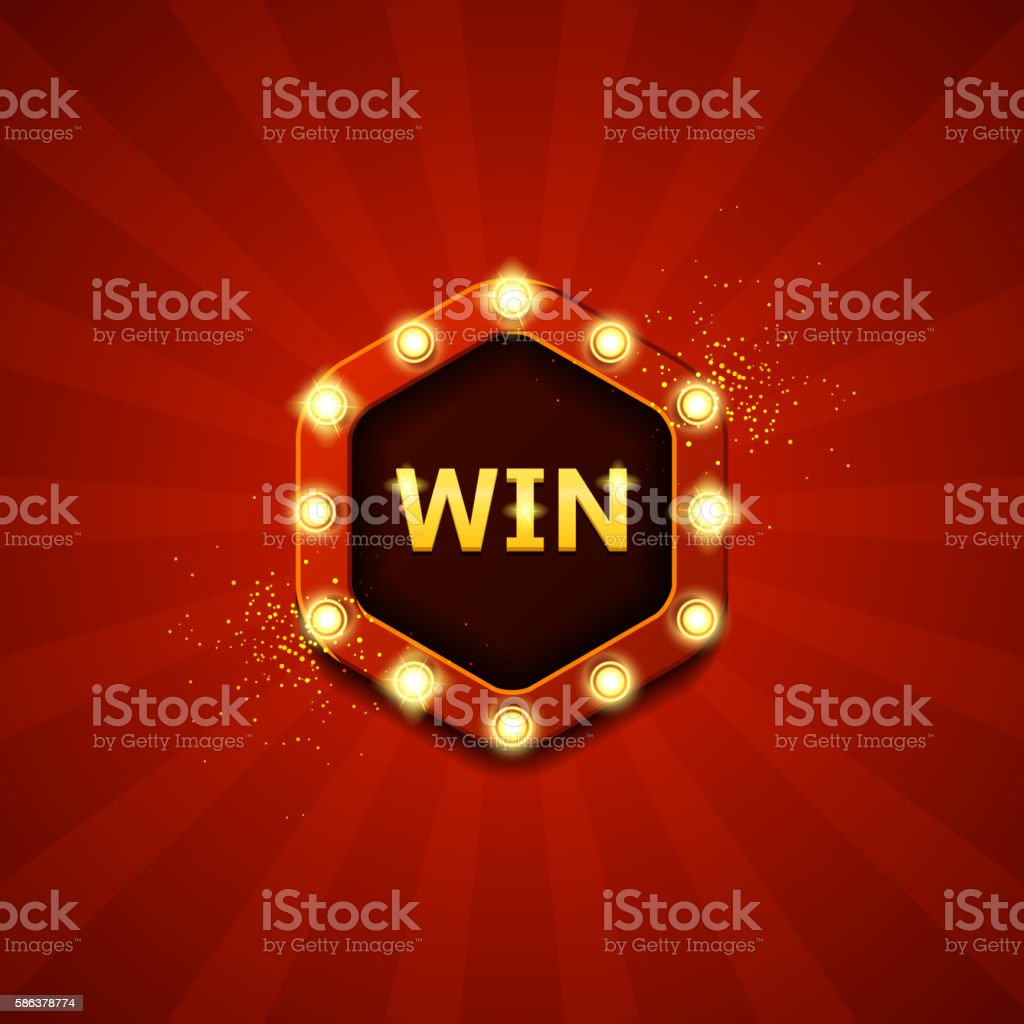 Win retro banners with glowing lamps royalty-free stock vector art
