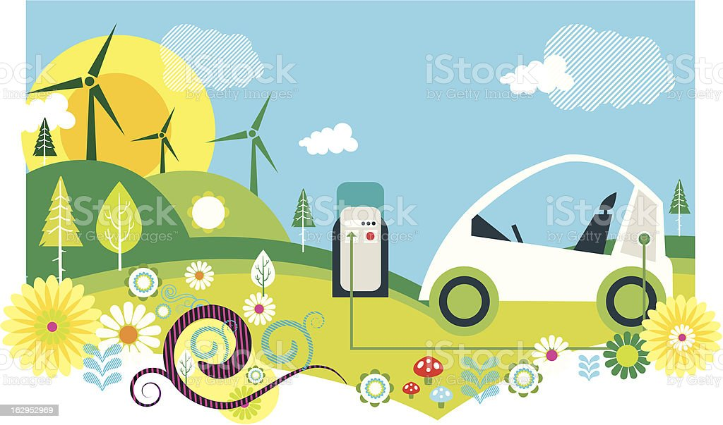 wind farm and electric car illustration royalty-free stock vector art