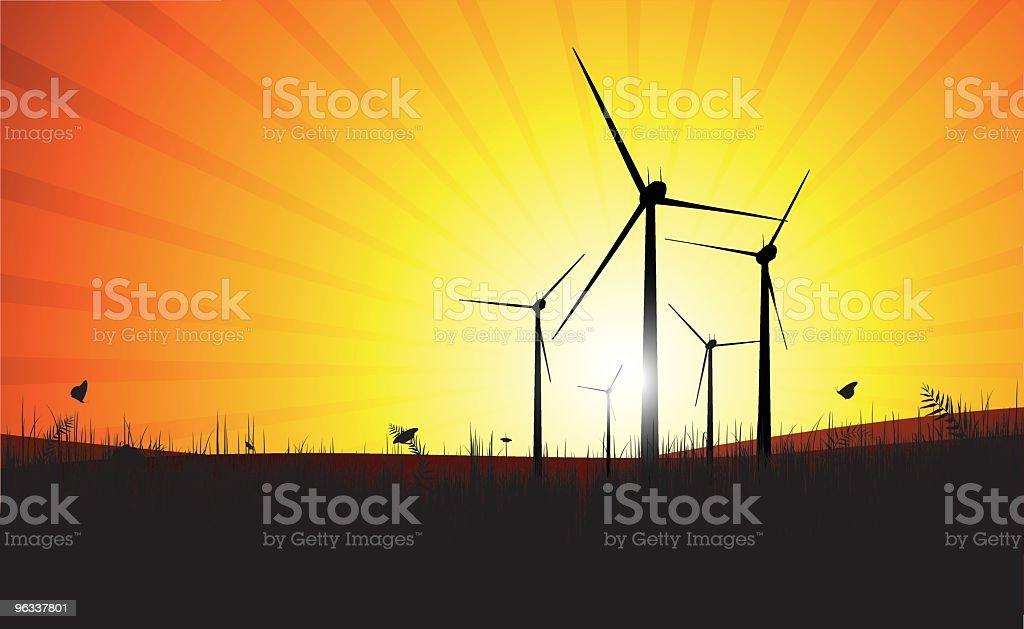 Wind Farm Sunset royalty-free stock vector art