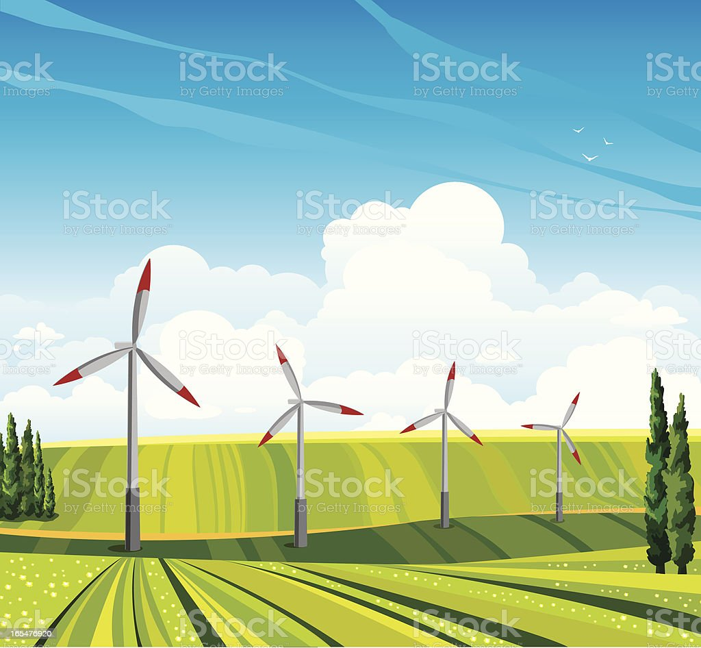 Wind generator and green meadow. royalty-free stock vector art