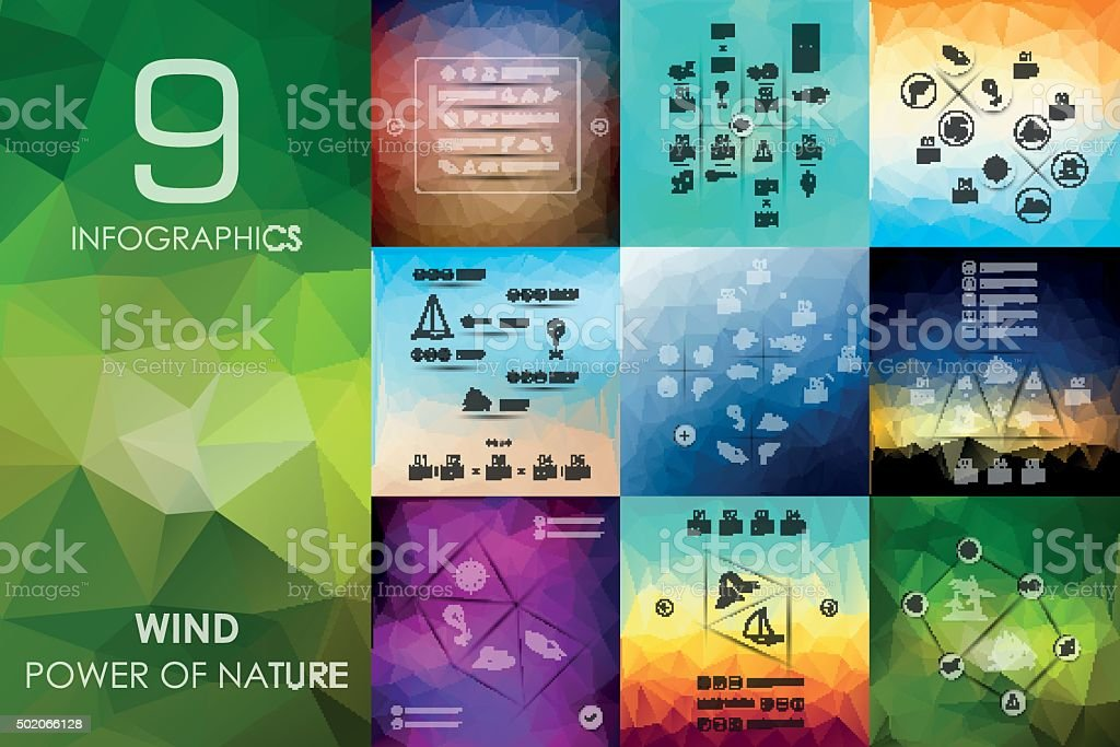 wind infographic with unfocused background vector art illustration