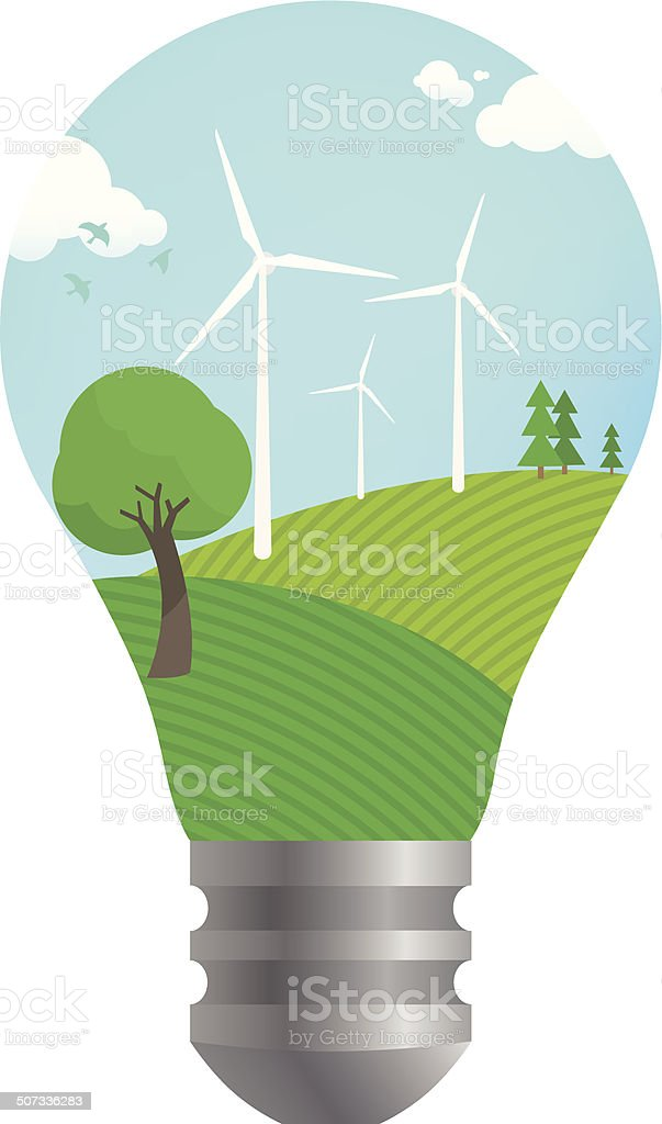 Wind mill for green earth vector art illustration