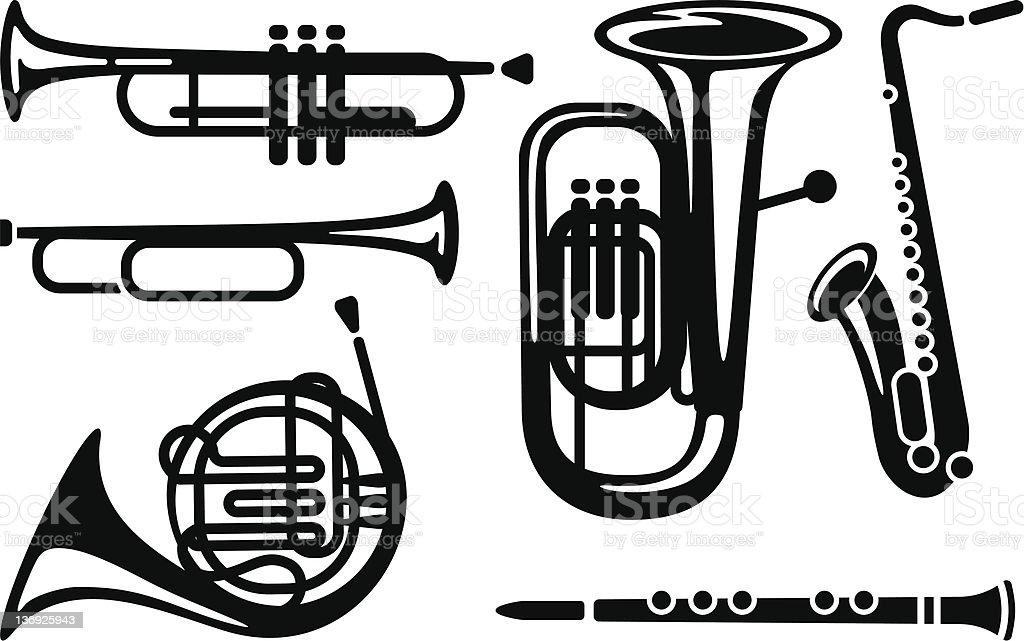 Wind musical instruments vector art illustration