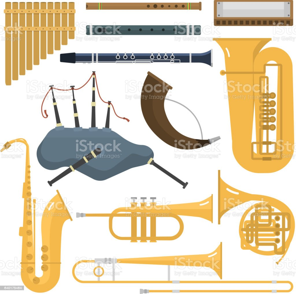 Wind musical instruments vector. vector art illustration