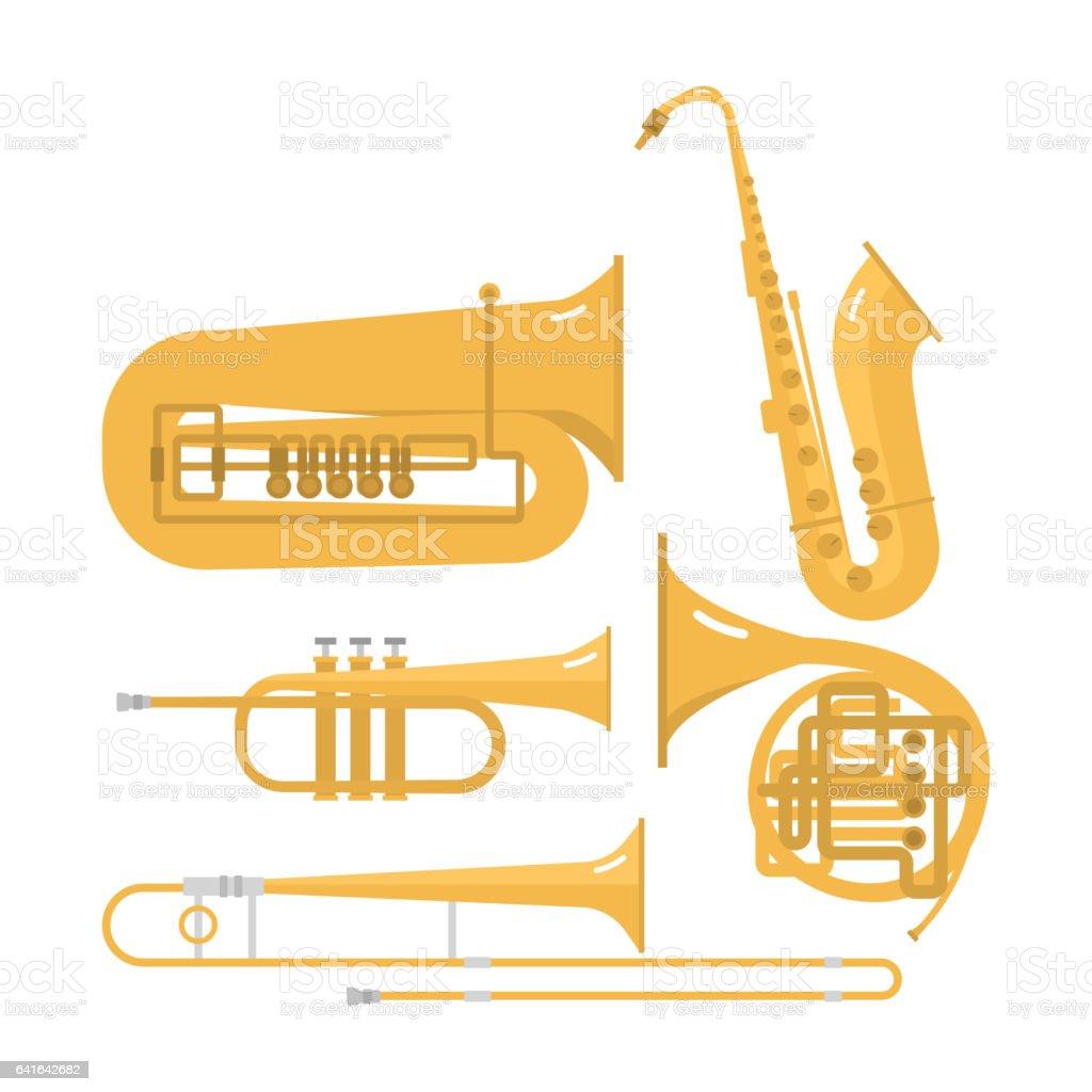 Wind musical instruments vector vector art illustration