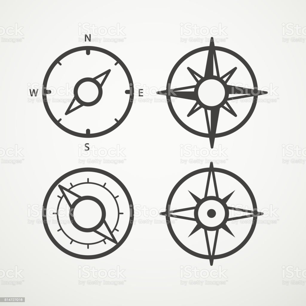 Wind rose and compass retro design vector collection vector art illustration