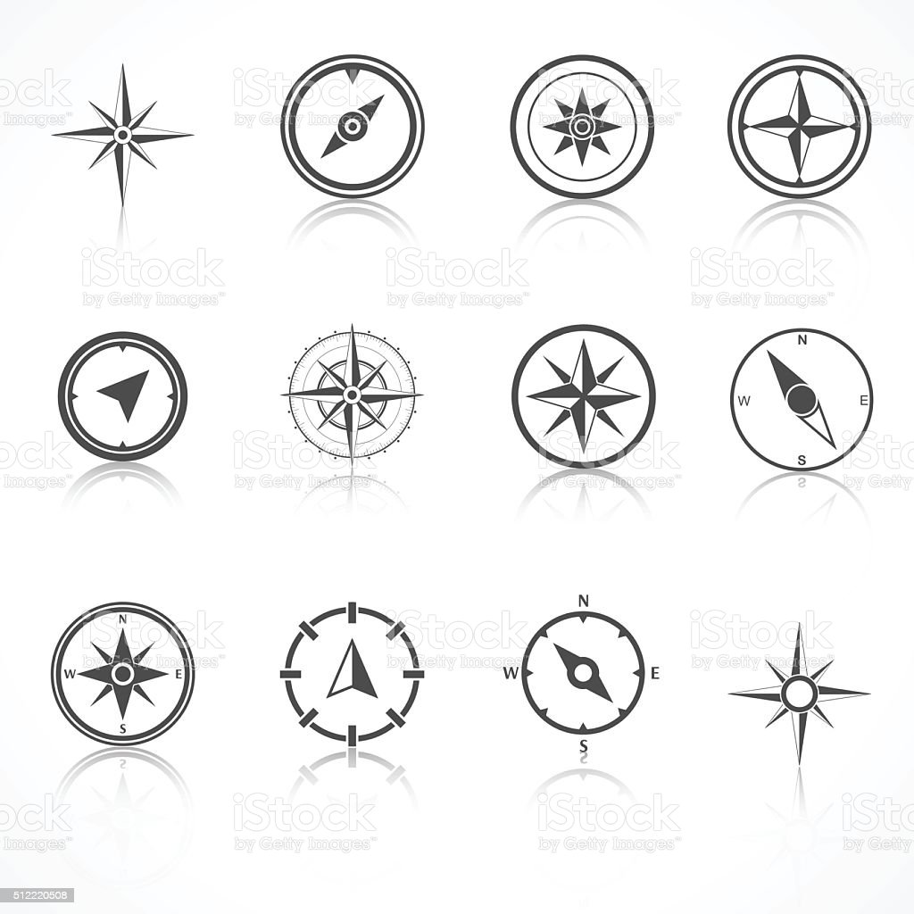 wind rose compass flat vector symbols set stock vector art