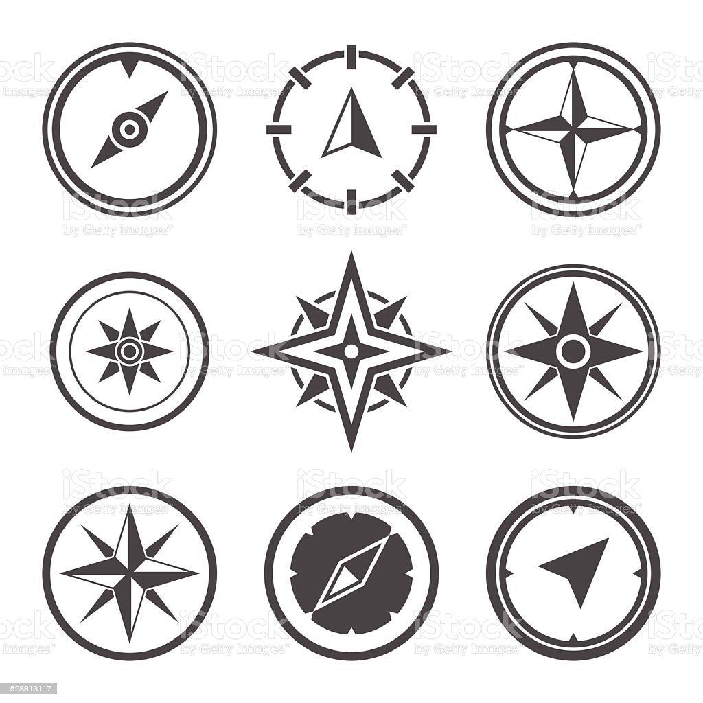 Wind rose compass flat vector symbols set vector art illustration
