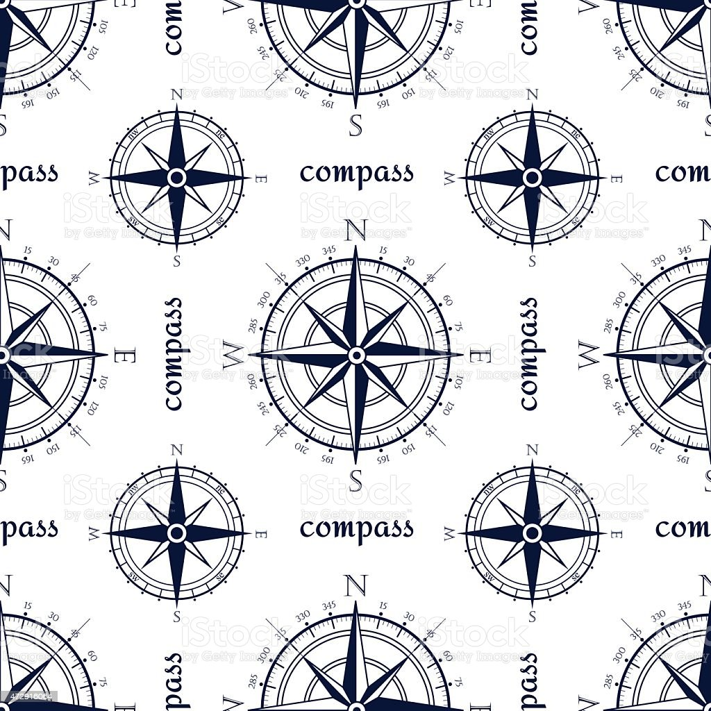 Wind rose compass vintage vector symbols seamless pattern. vector art illustration