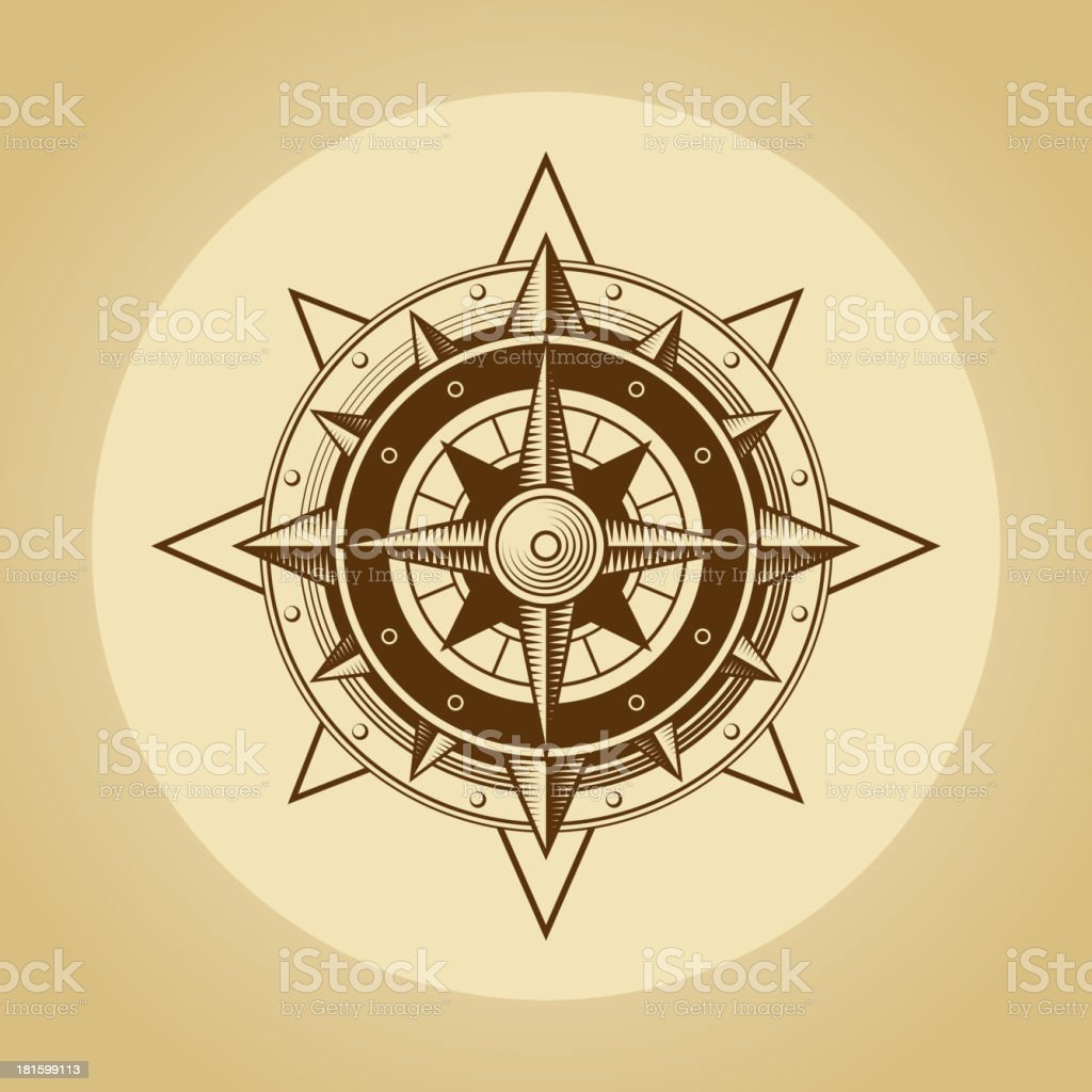 Wind rose in old retro style. Vector. royalty-free stock vector art