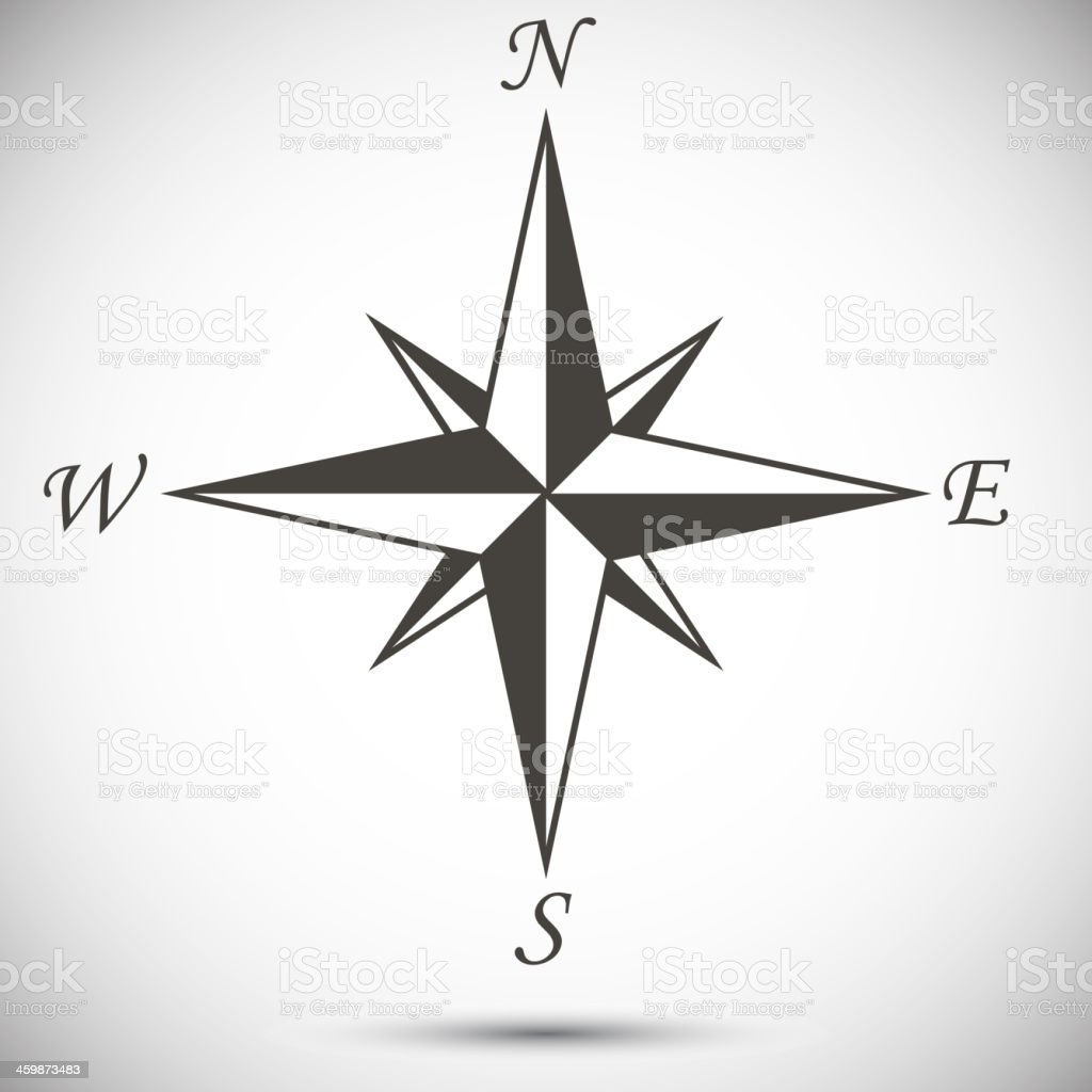 Windrose sign vector art illustration