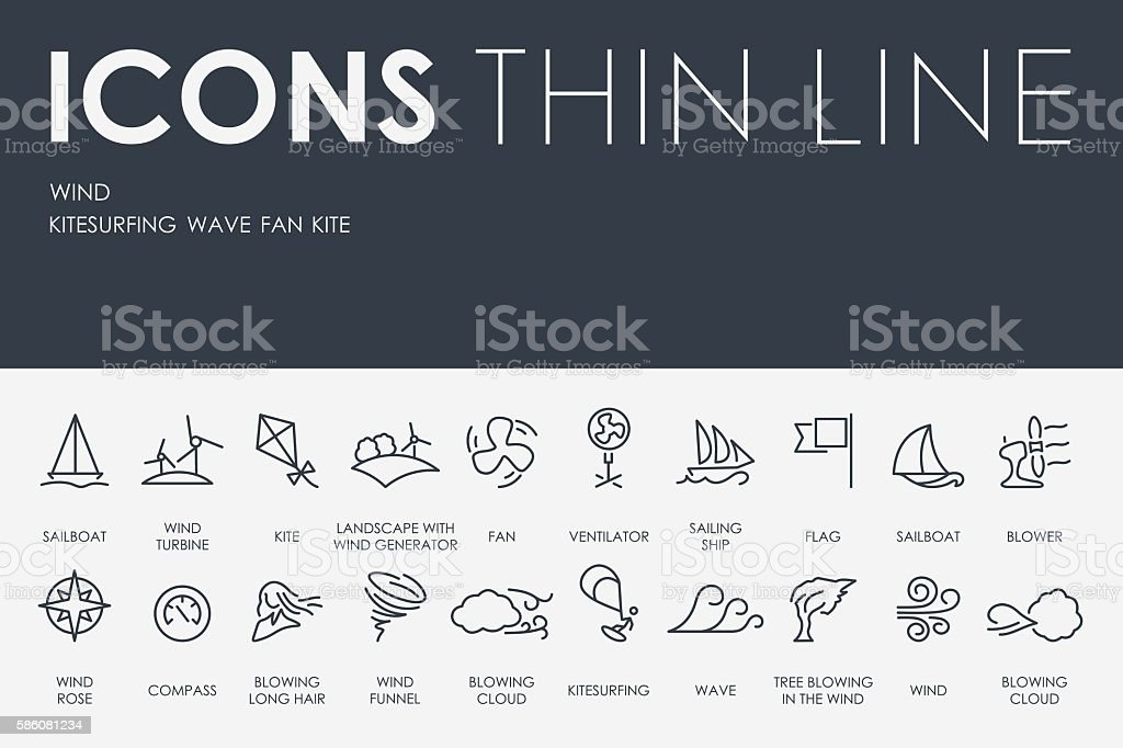 Wind Thin Line Icons vector art illustration