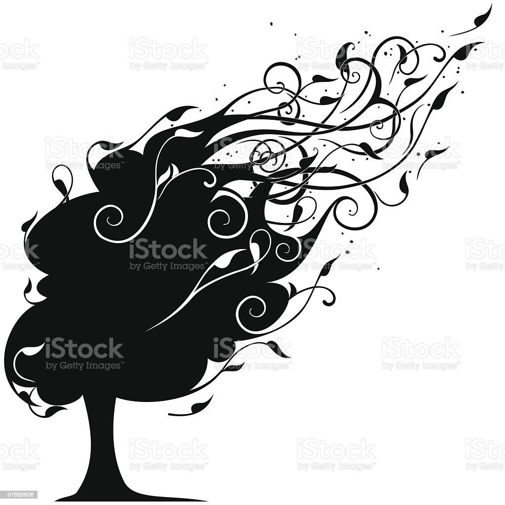 Wind tree royalty-free stock vector art