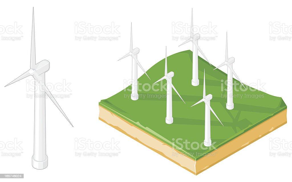 Wind turbine and farm. vector art illustration