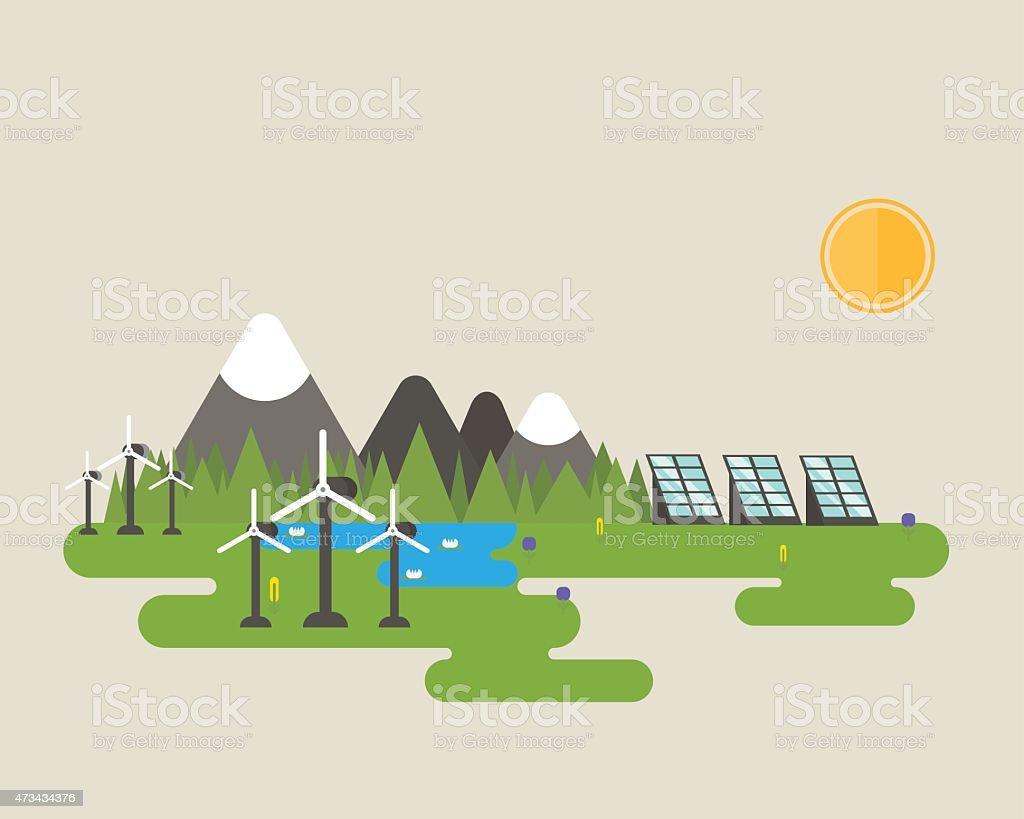 Wind turbine and solar panel. vector art illustration