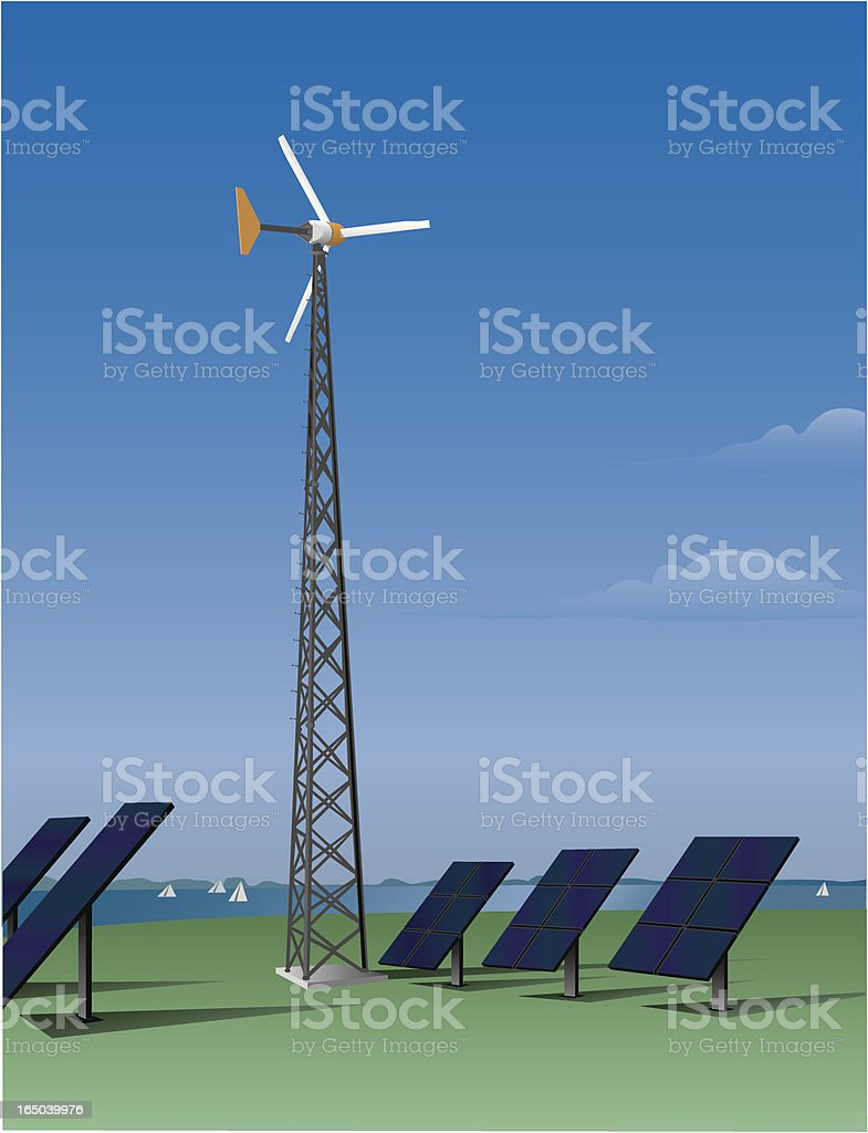 Wind turbine and solar panels (vector) royalty-free stock vector art