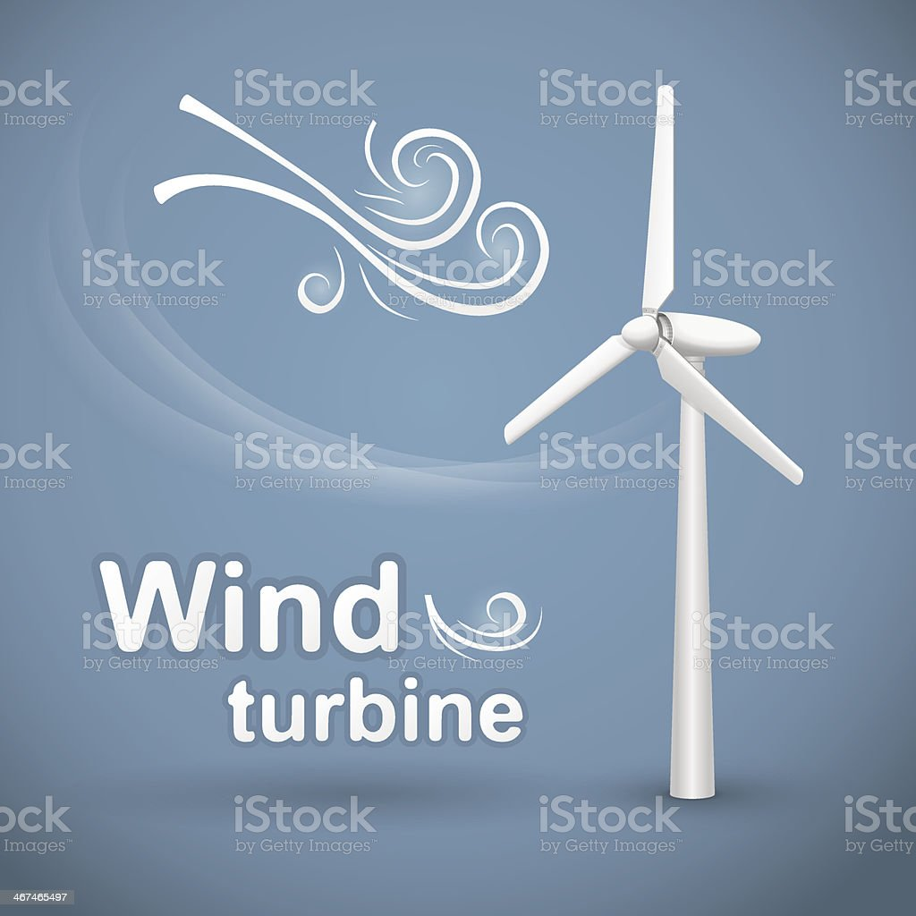 Wind turbine background vector art illustration