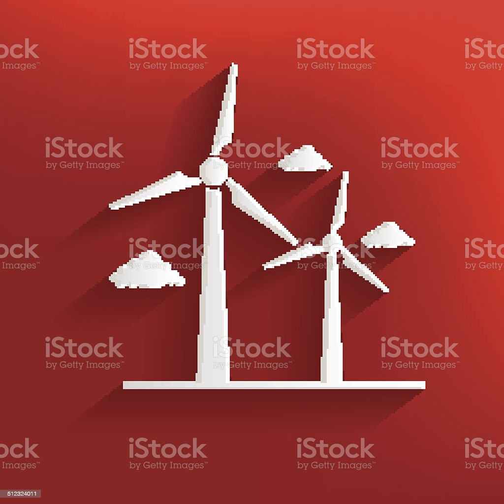 Wind turbine design on red background,clean vector vector art illustration