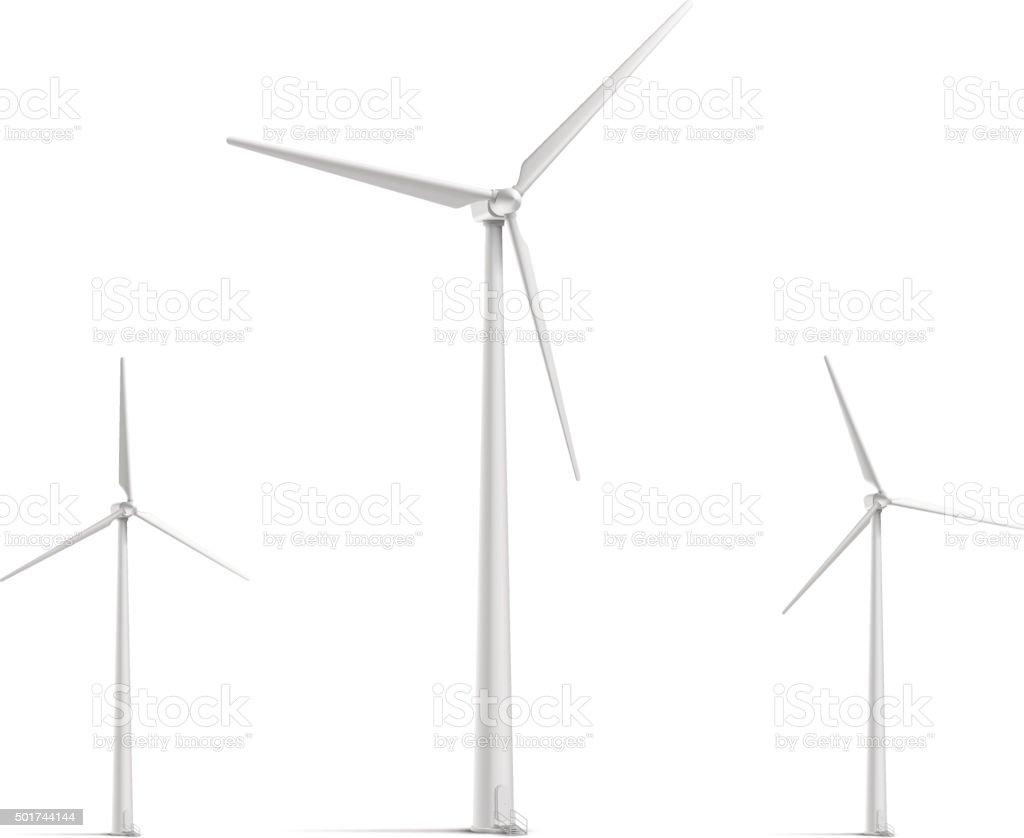 Wind Turbine Set vector art illustration