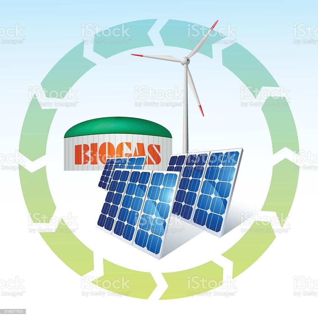 Wind turbine, solar panels, and biogas plant vector art illustration