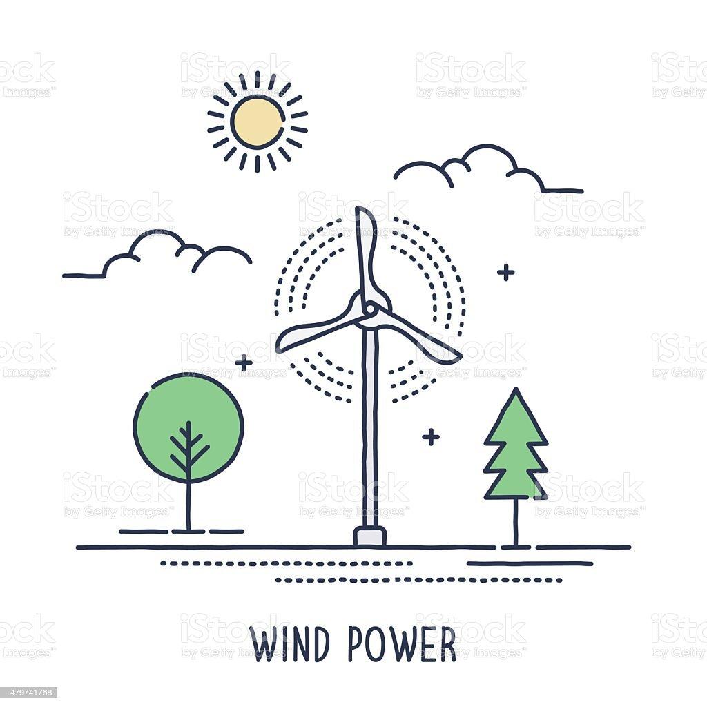 Wind Turbine Symbol vector art illustration