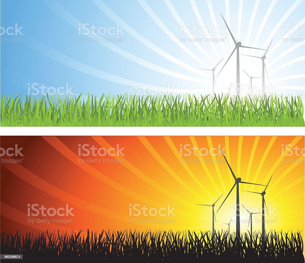 Wind Turbines in Field vector art illustration