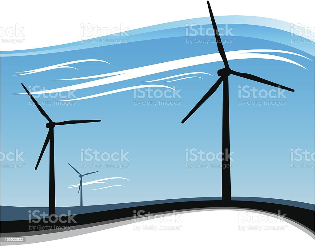 Wind Turbines in motion royalty-free stock vector art