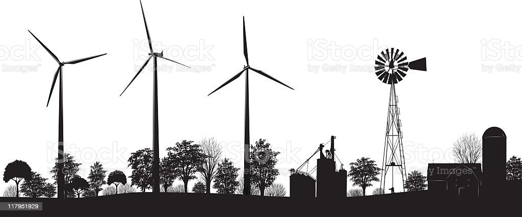 Wind Turbines on Farmland with trees and buildings black silhouette vector art illustration
