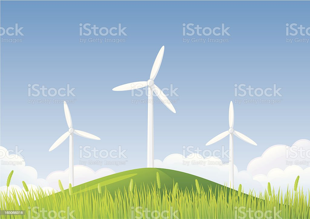 Wind turbines on hill royalty-free stock vector art