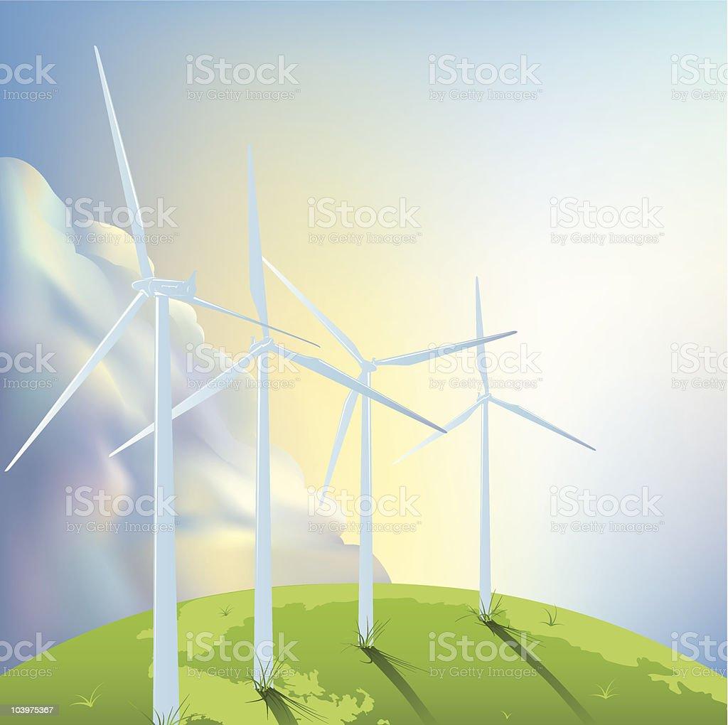 Wind Turbines on the Globe vector art illustration