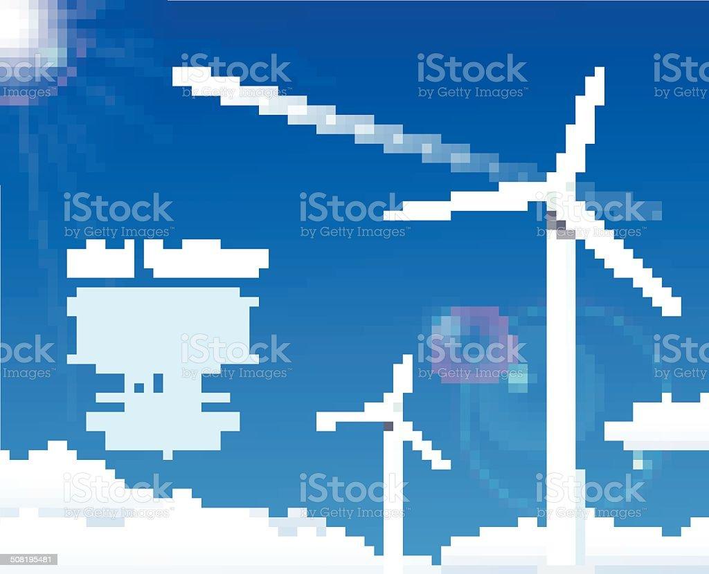 Éoliennes sur bleu ciel stock vecteur libres de droits libre de droits