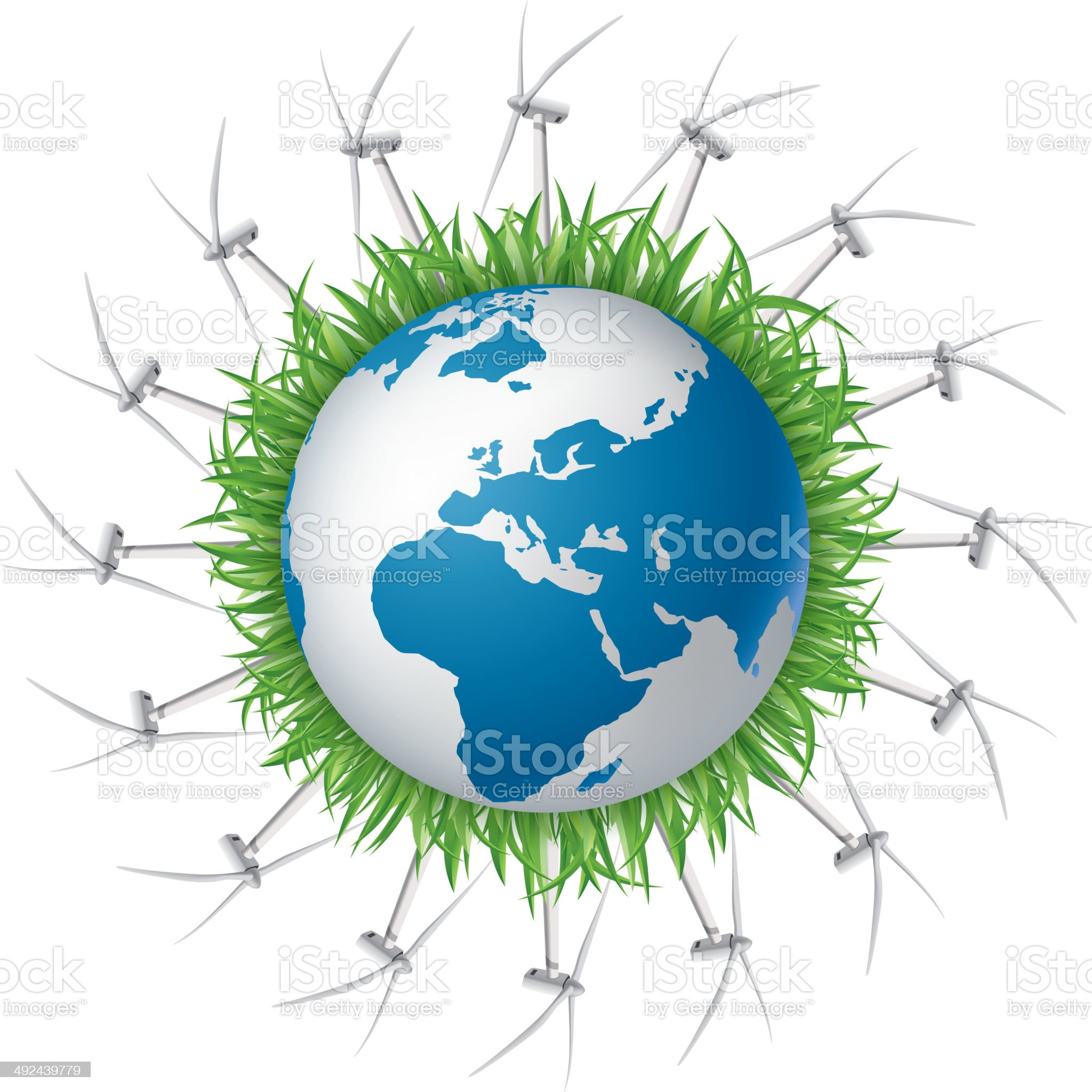 Wind Turbines round the earth royalty-free stock vector art