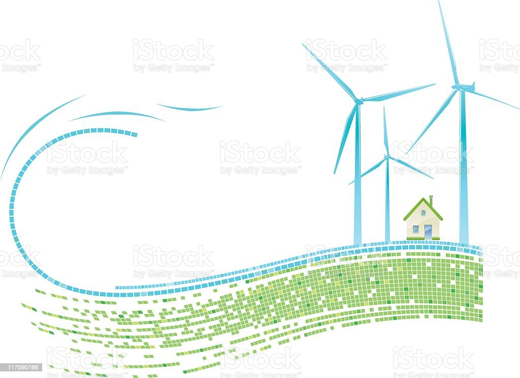 Wind Turbines royalty-free stock vector art