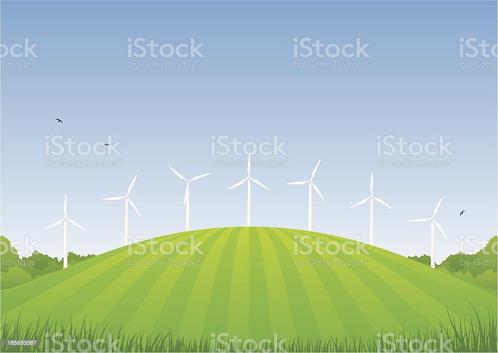 Wind turbines royalty-free stock vector art